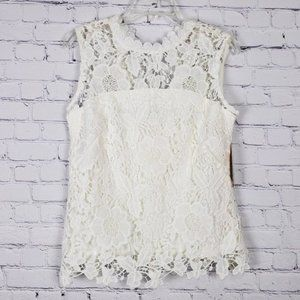 Nanette Lepore Ivory Lace Tie Back Tank Top M NWT